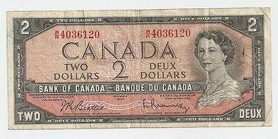 1954 Bank of Canada 2 Dollars Bank Note - Ottawa 1954