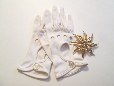 Vtg 60s Womens Accessories Lot White Open Back Gloves Huge Starfish Brooch
