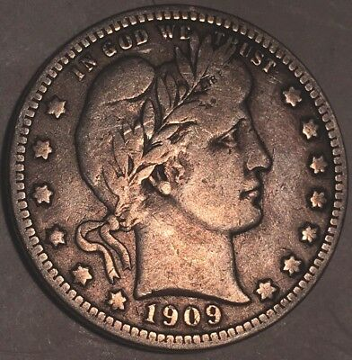 1909-D BARBER QUARTER - 90% SILVER COIN - GREAT CONDITION - 5 million minted