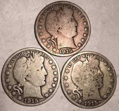 Lot Of (3) Barber Half Dollars - 1915-S - 1.6 Million Minted - See Pictures