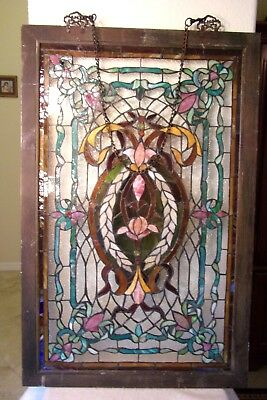 "Antique stained glass Framed Wood windows jeweled 23  5/8""Wide  x  36  1/2""Tall"