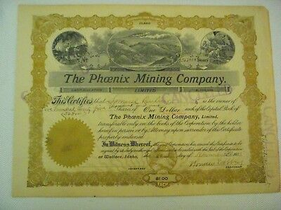 The Phoenix Mining Co., Idaho, Issued Cert for 525,001 Shares, 1905