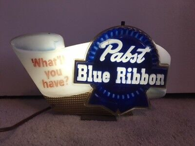 Retro Pabst Blue Ribbon Beer Light-Up Sign - Original Box - Collector's Item