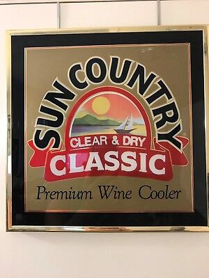 SUN COUNTRY CLEAR & DRY CLASSIC Premium Wine Cooler Hanging Advertising Sign EC!