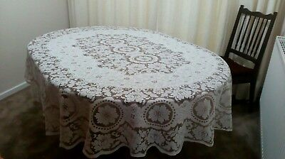 Large Oval Vintage Cotton Type Lace Tablecloth