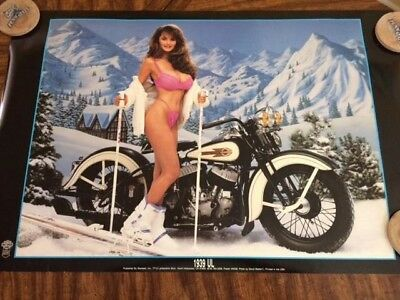 female pin-up poster official Harley Davidson motorcycle lingerie model sexy