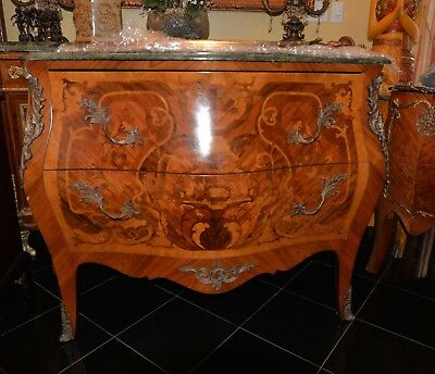 Antique French Commode / Buffet / Sidebar, Inlaid And Bronze Trim