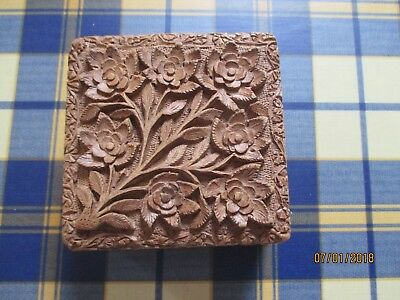 rare ornate carved jewellery  wooden box with concealed opening size 13.5x13.5