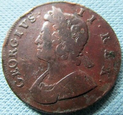 1732 King George II British US Colonial Era Halfpenny Copper-Historical Old Coin