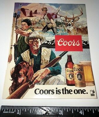 Vtg 1986 Coors is the one Table Tent Deer Hunter Archery Rifle Fishing Dog Ad