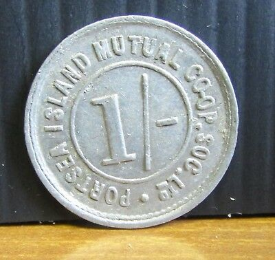 Old Portsea Island Mutual Co-op Society Hampshire 1/-d One Shilling Token Coin