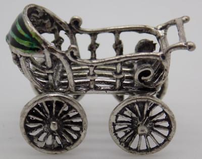 Vintage Solid Silver Italian Made Dollhouse Pram Miniature, Figurine, Stamped