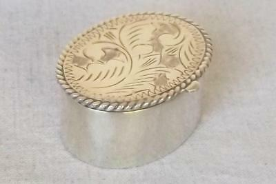 A Fine Vintage Solid Sterling Silver Oval Pill Box London 1994.