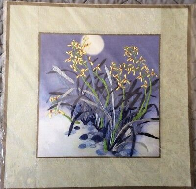 "Japanese Floral Silk Embroidery Art with pale green border - 11.5"" x 11.5"" - New"
