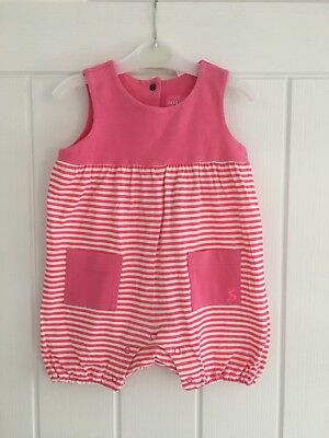 Joules Pink & White Striped Sleeveless Romper, 9-12m