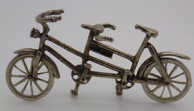 Vintage Solid Silver Italian Made Dollhouse Tandem Miniature, Figurine, Stamped