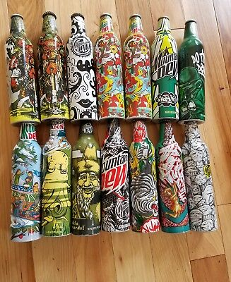 Mountain dew green label art aluminum bottles