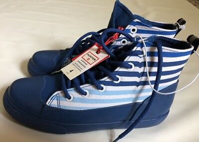 Hunter Target Canvas Sneakers Blue Stripe Kids Size 4 New