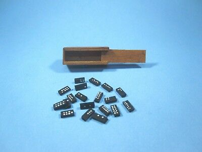 Vintage Miniature Wood Dominoes Set hand crafted signed/dated Dollhouse game