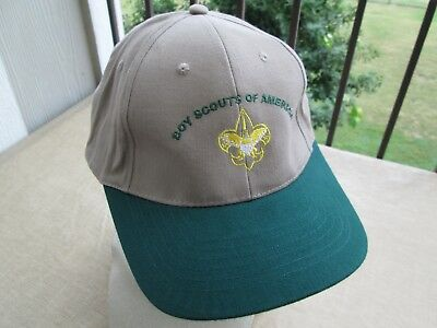 BSA Boy Scouts of America Hat Baseball Cap Embroidered Tan Green