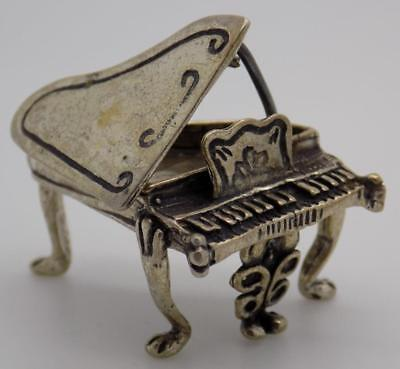 Vintage Solid Silver Italian Made Piano Instrument Miniature, Figurine, Stamped