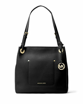 2b6e796a4c19 $278 NWT Michael Kors Walsh Medium Black Leather Shoulder Tote Handbag Purse