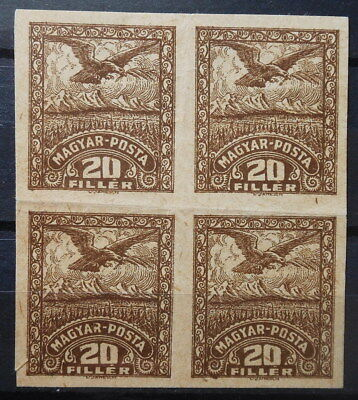 Romania - Occupation Hungary Debrecen 1919 Block Of 4 Stamps Proof Mnh