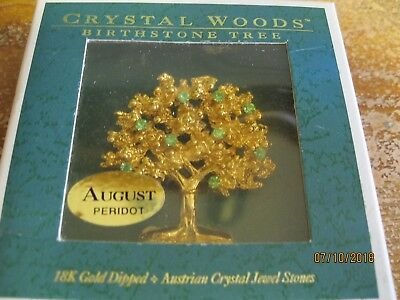 CRYSTAL WOODS --August Birthstone tree brooch.- new