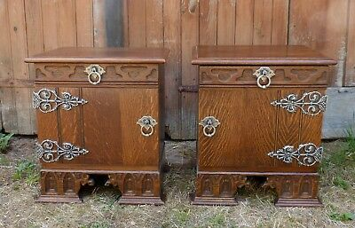 Unique Pair of Vintage Dutch Gothic Dark Oak Bedside Cabinets See Matching Items