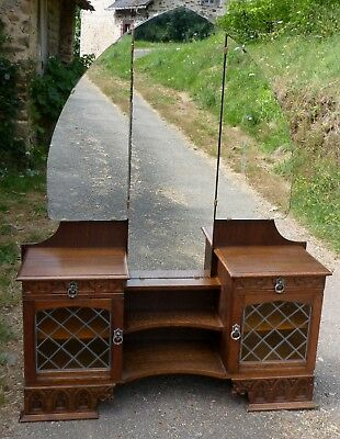 Vintage Dutch Gothic Oak Dressing Table Leaded Glass, Cupboards & Arched Mirror