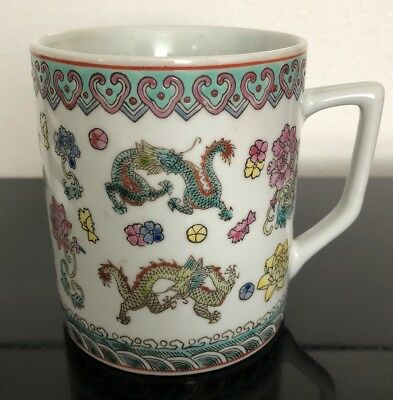 Chinese Porcelain Antique Famille Rose Dragon Cup