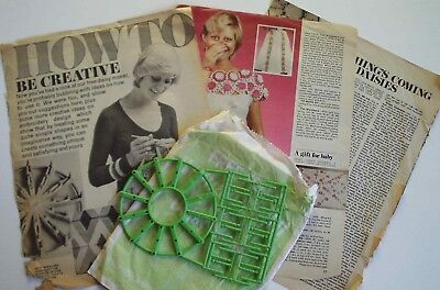 Vintage Daisy Maker flower loom & patterns - Woman's Own magazine 1970s