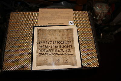 Antique Colonial Sampler-Mary Haslam 1822-Newark Museum NJ-Alphabet Numbers