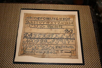 Antique Colonial Sampler-Elizabeth June 9th 1840-Newark Museum NJ-Alphabet