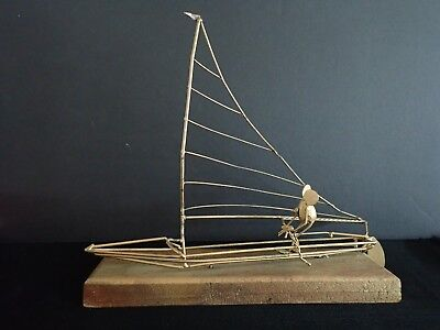 Vintage Mice Mania Metal Wire Art Sculpture Of Mouse & Sailboat On Wood Stand