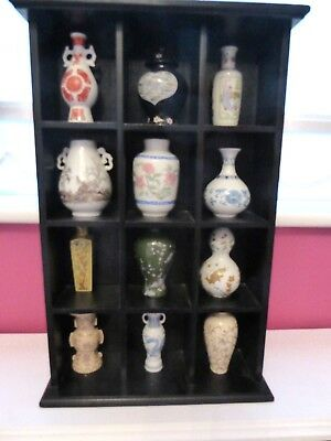 12 miniature replica Japanese And Thai  Vases And Black Display