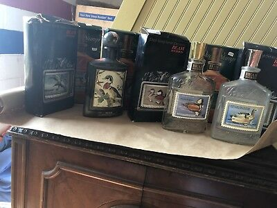 Vintage lot of 12 JIM BEAM Empty Duck Stamp Decanters