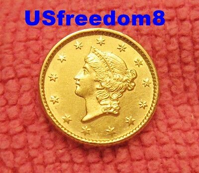 1853 $1 Gold Liberty Rare Beautiful Uncleaned Choice Almost Uncirculated