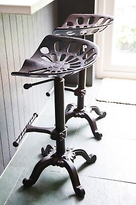 Vintage style tractor seat bar stool Rustic Cast Iron Industrial Set of two