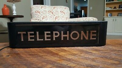 "vintage lighted telephone sign double sided. 21""x 5"""