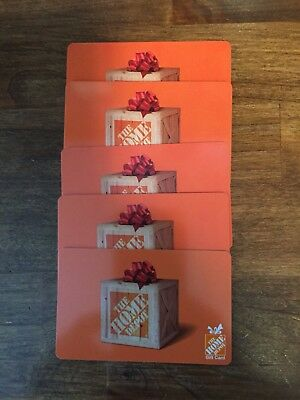 Lot of 5 Home Depot Gift Cards  Total Value $115 - Free Shipping!
