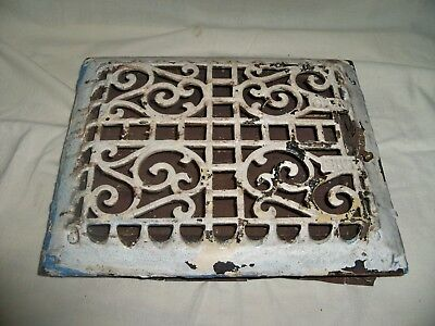 "Vintage Cast Iron Heat Register Floor/Wall Grate Vent with Louvers 10""x12"" OD"