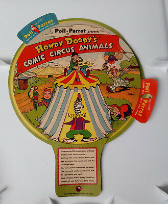 Old 1954 POLL PARROT HOWDY DOODY Shoes COMIC CIRCUS Animals Fan MATCH UP GAME
