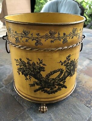 Gorgeous Italian Tole Cachepot Planter With Classical Details Of Cornucopias