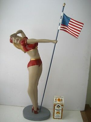 Vintage Patriotic USO American Showgirl Bust/Mannequin/Statue Holding USA Flag