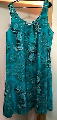 Women's TEAL AQUA BLUE Floral SUNDRESS Night Gown  Swimsuit Cover-Up NWOT 3X