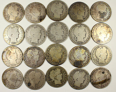 ROLL OF 20 BARBER HALF DOLLARS Various Dates Mints and Grades