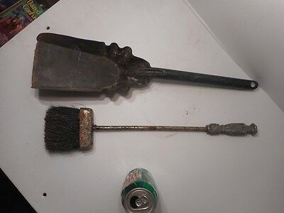 Vintage Fireplace Tools Broom Antique Coal Shovel Wood Burner Stove Small Shovel