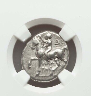 Boy On Dolphin Rev  NGC Choice VF Calabria Taras Ancient Greek Silver Stater