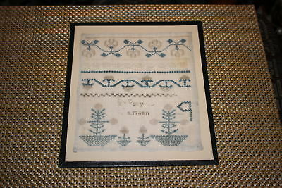 Antique Colonial Sampler-Mary-Newark Museum NJ-Trees Flowers-Small Size